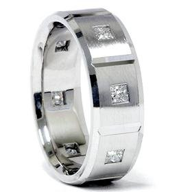 14k White Gold 1.00ct Princess Cut Diamond Wedding Ring