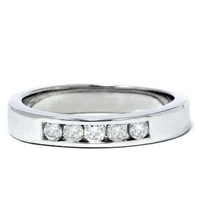 Men's 14k White Gold Diamond Channel Set Ring