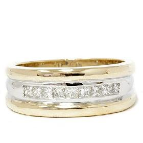 Mens 14k Gold Two Tone Princess Diamond Wedding Ring