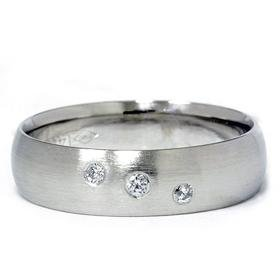 14K White Gold Comfort Fit Bezel Set Diamond Wedding Band