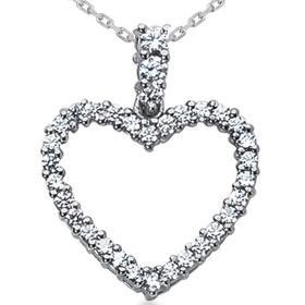 14k White Gold 1.00CT Diamond Heart Pendant