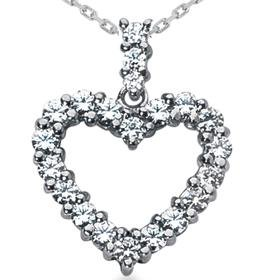 14k White Gold 2.00CT Diamond Heart Pendant
