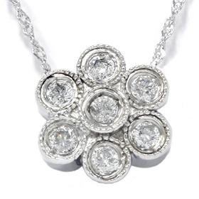 Antique 14k White Gold 1.00CT Diamond Filigree Pendant