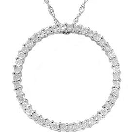 14k White Gold 1.00ct Diamond Circle Eternity Pendant