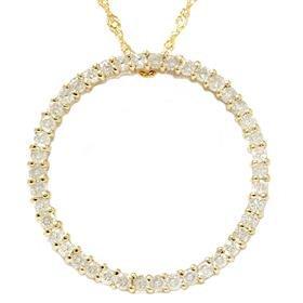 14k Yellow Gold 1.00ct Circle Diamond Pendant