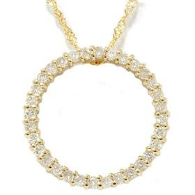 14k Yellow Gold .50CT Circle Diamond Pendant