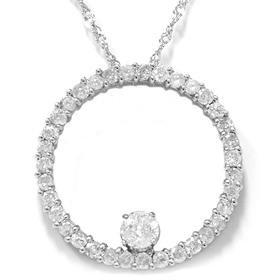 14k White Gold 1.50CT Circle Diamond Pendant