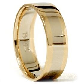 14k Gold Plain Two Tone Comfort Fit Wedding Band