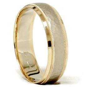 14k Gold Two Tone Hammered Comfort Fit Wedding Band