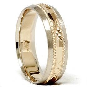 14k Gold Two Tone Comfort Fit Swiss Cut Wedding Band