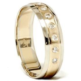 14K Gold Two Tone Comfort Fit Diamond Wedding Band