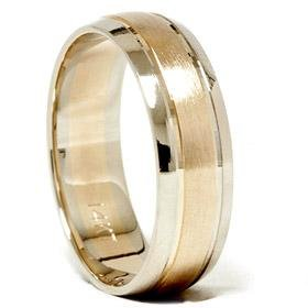 14k Gold Two Tone 6mm Comfort Fit Wedding Band