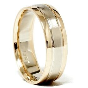 Men's 6mm 14K Two Tone Comfort Fit Wedding Band