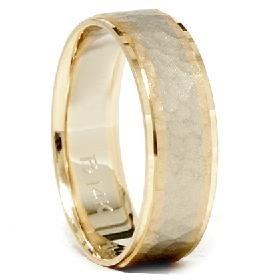 14k Gold Two Tone Hammered Brushed Wedding Band