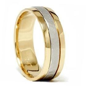 Platinum & 18K Gold Two Tone Hammered Wedding Band