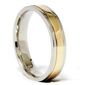Ladies Platinum & 18k Gold Two Tone Comfort Fit Wedding Band