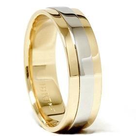 Men's Platinum & 18K Gold Two Tone Wedding Band