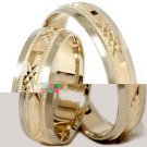 14k Gold Matching His Hers Swiss Cut Wedding Band Set