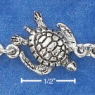 "STERLING SILVER 7.5"" ANTIQUED TURTLE LINK BRACELET  BR-1808"
