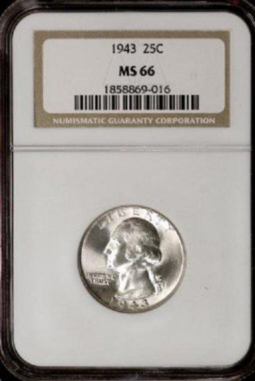 1943 Washington Quarter NGC MS66 - aj8