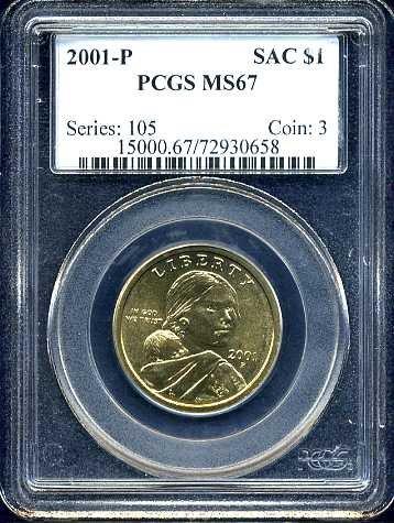 2001-P Sacagawea Golden Dollar PCGS MS67