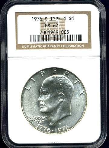 1976-S Silver Bicentennial Ike Dollar NGC MS67