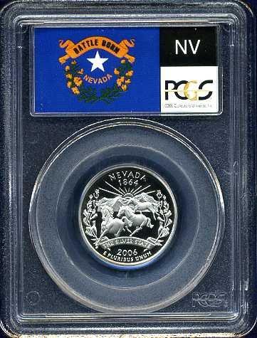 2006-S Clad Nevada Quarter PCGS PR69DCAM Flag Holder