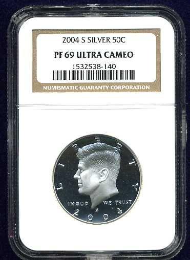 2004-S Silver Kennedy Half Dollar NGC PF69UCAM