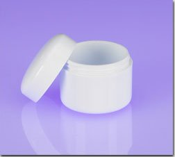 (100) 1/3 oz. White Cosmetic Jars with Lined Cap