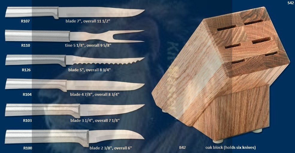 S42 Creative Cuts Knives w/Oak Block Holiday Gift Set (Rada Cutlery)