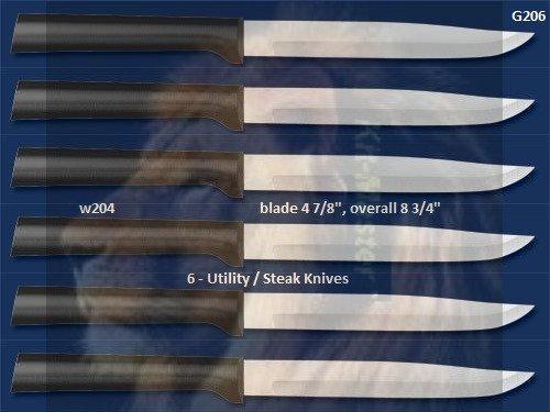 G206 Six Utility/Steak Knives Holiday Gift Set-Black Handle (Rada Cutlery)