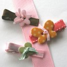 Set of three girly girl alligator clips