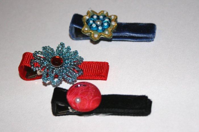 Set of three vintage alligator clips