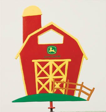 Family Matters Metal Yard Stake JOHN DEERE BARN  Whimsical Figure