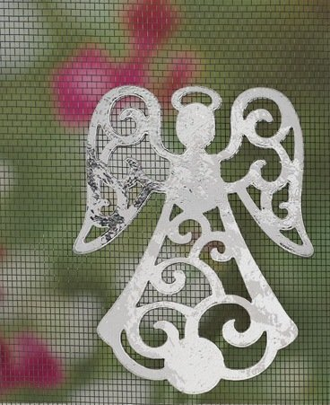 MAGNETIC WINDOW /DOOR  SCREEN SAVER  DECORATIVE   ORNAMENT SILVER STANDING  ANGEL FREE SHIPPING