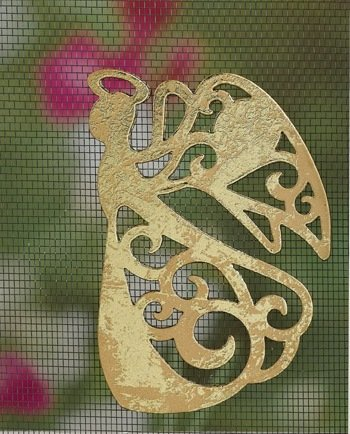 MAGNETIC WINDOW /DOOR  SCREEN SAVER  DECORATIVE   ORNAMENT  GOLD  FLYING ANGEL  FREE SHIPPING