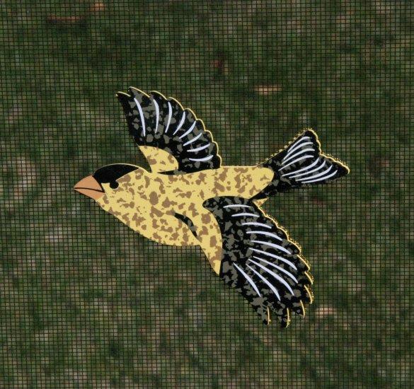 MAGNETIC WINDOW  SCREEN SAVER  DECORATIVE ORNAMENT  YELLOW FINCH  BIRD SOARING