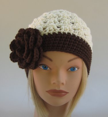 Cream and Brown Fifty's Style Beanie Hat Pre-Teen to Adult