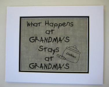 """Burlap Printed Wall Art Sign """"What Happens at Grandma's stays at Grandma's"""