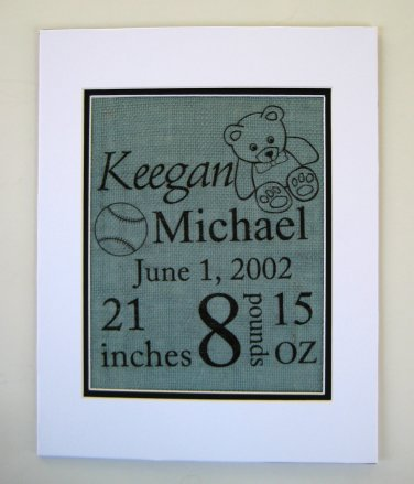Burlap Baby Announcement Wall Art Deco Gift Custom Made to Order