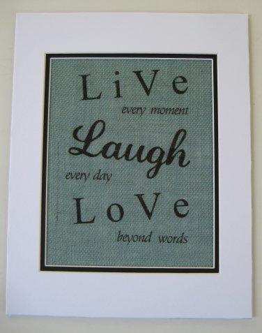 """Burlap Printed Wall Art Sign """"Live Laugh Love """""""