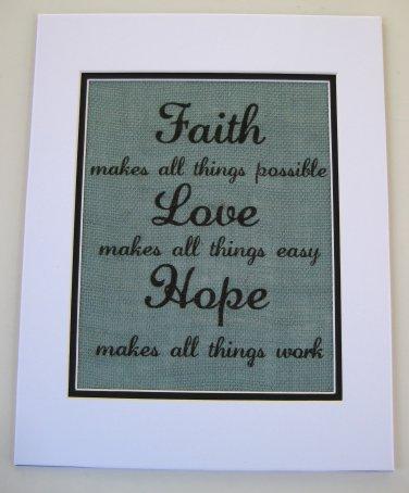 "Burlap Printed Wall Art Sign ""Faith Love Hope   """