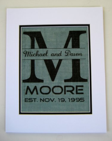 Burlap Wedding Wall Art Deco Gift Custom Made to Order