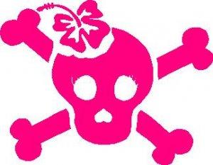 Hibiscus Girl Skull Hibiscus Car Decal Sticker #36