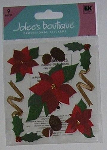 Jolee's Boutique POINSETTIAS Christmas Stickers - NEW!