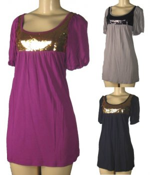 Ginger G - Junior Short Sleeve Tunic Tops with Sequin Accented Bodice
