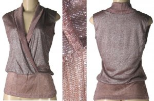 Marianne - Junior Fold Over Knit Tops with Metallic Thread