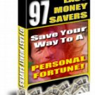 97 easy ways to SAVE MONEY eBook Resale + FREE BONUS