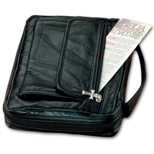 Leather Bible Cover with Zippered Side Pocket