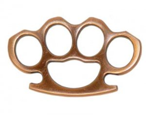 Full Size Brass Knuckles Paper Weight - Copper